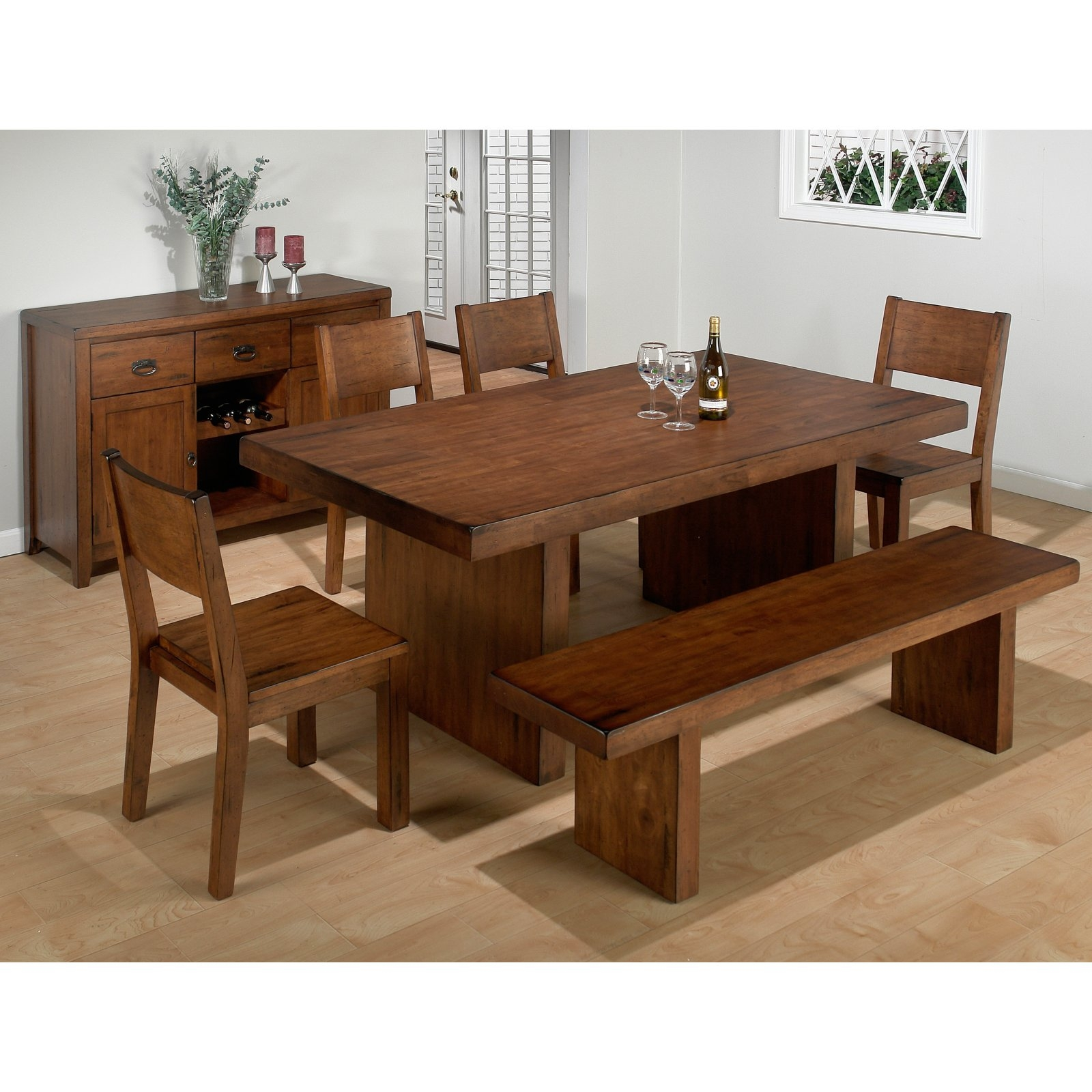 dining table with bench seating furniture tree